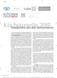 Titelbild der Ausgabe 9/2019 von Küchenmeile 2019 Neuigkeiten aus den Messezentren. Zeitschriften als Abo oder epaper bei United Kiosk online kaufen.