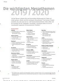 Titelbild der Ausgabe 11/2019 von Die wichtigsten Messethemen 2019 / 2020. Zeitschriften als Abo oder epaper bei United Kiosk online kaufen.
