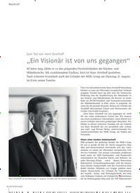 """Titelbild der Ausgabe 9/2020 von Nachruf: Zum Tod von Hans Strothoff: """"Ein Visionär ist von uns gegangen"""". Zeitschriften als Abo oder epaper bei United Kiosk online kaufen."""