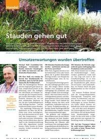 Titelbild der Ausgabe 9/2018 von Marktlage und aktuelle Themen: Stauden gehen gut. Zeitschriften als Abo oder epaper bei United Kiosk online kaufen.