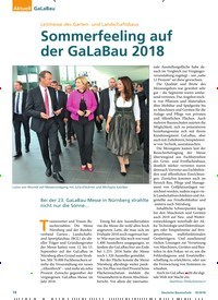 Titelbild der Ausgabe 10/2018 von GaLaBau: Leitmesse des Garten- und Landschaftsbaus: Sommerfeeling auf der GaLaBau 2018. Zeitschriften als Abo oder epaper bei United Kiosk online kaufen.