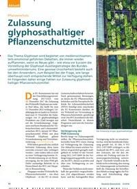 Titelbild der Ausgabe 12/2018 von Pflanzenschutz: Zulassung glyphosathaltiger Pflanzenschutzmittel. Zeitschriften als Abo oder epaper bei United Kiosk online kaufen.