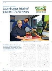 Titelbild der Ausgabe 11/2018 von BRANCHENPREIS GEHT AN EINEN FRIEDHOF: Lauenburger Friedhof gewinnt TASPO-Award. Zeitschriften als Abo oder epaper bei United Kiosk online kaufen.