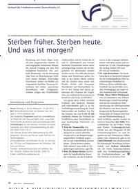 Titelbild der Ausgabe 3/2019 von Verband der Friedhofsverwalter Deutschlands e.V.: Sterben früher. Sterben heute. Und was ist morgen?. Zeitschriften als Abo oder epaper bei United Kiosk online kaufen.