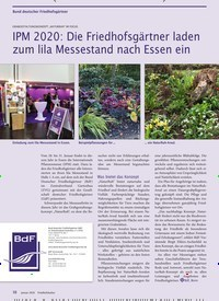 Titelbild der Ausgabe 1/2020 von Bund deutscher Friedhofsgärt: IPM 2020: Die Friedhofsgärtner laden zum lila Messestand nach Essen ein. Zeitschriften als Abo oder epaper bei United Kiosk online kaufen.