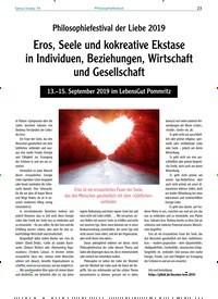 Titelbild der Ausgabe 79/2019 von Philosophiefestival der Liebe 2019: Eros, Seele und kokreative Ekstase in Individuen, Beziehungen, Wirtschaft und Gesellschaft. Zeitschriften als Abo oder epaper bei United Kiosk online kaufen.