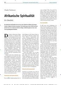 Titelbild der Ausgabe 82/2020 von Überblick: Claudia Nussbaumer: Afrikanische Spiritualität: Ein Überblick. Zeitschriften als Abo oder epaper bei United Kiosk online kaufen.