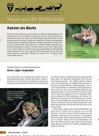 Titelbild der Ausgabe 23/2018 von Neues aus der Wildbiologie: Katzen als Beute. Zeitschriften als Abo oder epaper bei United Kiosk online kaufen.