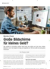Titelbild der Ausgabe 5/2021 von Monitor-Check: Große Bildschirme für kleines Geld?. Zeitschriften als Abo oder epaper bei United Kiosk online kaufen.