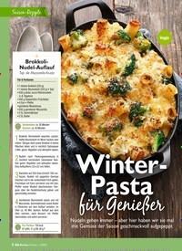 Titelbild der Ausgabe 2/2021 von Saison-Rezepte: Winter- Pasta für Genie er. Zeitschriften als Abo oder epaper bei United Kiosk online kaufen.