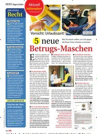 Titelbild der Ausgabe 27/2018 von Tipps & Infos: Aktuell informiert Vorsicht: Urlaubszeit!: 5 neue: Betrugs-Maschen. Zeitschriften als Abo oder epaper bei United Kiosk online kaufen.