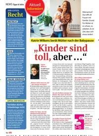"""Titelbild der Ausgabe 13/2019 von News Tipps & Infos: Aktuell informiert: Katrin Wilkens berät Mütter nach der Babypause: """"Kinder sind toll, aber …"""". Zeitschriften als Abo oder epaper bei United Kiosk online kaufen."""
