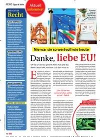 Titelbild der Ausgabe 14/2019 von NEWS Tipps & Infos: Aktuell informiert: Nie war sie so wertvoll wie heute: Danke, liebe EU!. Zeitschriften als Abo oder epaper bei United Kiosk online kaufen.