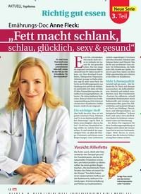 """Titelbild der Ausgabe 17/2019 von Richtig gut essen: Ernährungs-Doc Anne Fleck: """"Fett macht schlank, schlau, glücklich, sexy & gesund"""". Zeitschriften als Abo oder epaper bei United Kiosk online kaufen."""