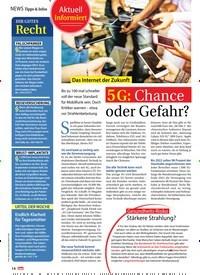 Titelbild der Ausgabe 21/2019 von News Tipps & Infos: Das Internet der Zukunft: 5G: Chance oder Gefahr?. Zeitschriften als Abo oder epaper bei United Kiosk online kaufen.