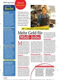 Titelbild der Ausgabe 27/2019 von Ab 1. Juli gelten neue Regelungen: Mehr Geld für Mehr Geld für Midi-Jobs. Zeitschriften als Abo oder epaper bei United Kiosk online kaufen.