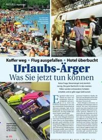 Titelbild der Ausgabe 35/2019 von Urlaubs-Ärger Was Sie jetzt tun können. Zeitschriften als Abo oder epaper bei United Kiosk online kaufen.