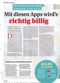 Titelbild der Ausgabe 46/2019 von Topthema: Was Sie über die neuen digitalen Kundenkarten wissen müssen: Mit diesen Apps wird's richtig billig. Zeitschriften als Abo oder epaper bei United Kiosk online kaufen.