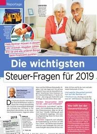 Titelbild der Ausgabe 2/2019 von Reportage: Die wichtigsten Steuer-Fragen für 2019. Zeitschriften als Abo oder epaper bei United Kiosk online kaufen.