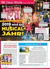 Titelbild der Ausgabe 4/2019 von Diese Woche zum Mitreden: Bühne frei für Elvis, Tina, Sherlock Holmes: 2019 wird das Musical-JAHR!. Zeitschriften als Abo oder epaper bei United Kiosk online kaufen.