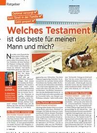 Titelbild der Ausgabe 4/2019 von Ratgeber: Welches Testament ist das beste für meinen Mann und mich?. Zeitschriften als Abo oder epaper bei United Kiosk online kaufen.
