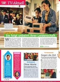 Titelbild der Ausgabe 6/2019 von TV-Aktuell: lotte am Bauhaus: Sie folgt unbeirrt ihrer Leidenschaft. Zeitschriften als Abo oder epaper bei United Kiosk online kaufen.