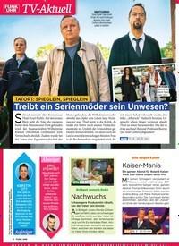 Titelbild der Ausgabe 11/2019 von TV-Aktuell: TATORT: SPIEGLEIN, SPIEGLEIN Treibt ein Serienmöder sein Unwesen?. Zeitschriften als Abo oder epaper bei United Kiosk online kaufen.
