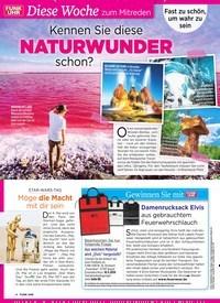 Titelbild der Ausgabe 18/2019 von Diese Woche zum Mitreden: Kennen Sie diese schon? Naturwunder. Zeitschriften als Abo oder epaper bei United Kiosk online kaufen.