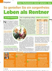Titelbild der Ausgabe 20/2019 von Ratgeber: So genießen Sie ein sorgenfreies: Leben als Rentner. Zeitschriften als Abo oder epaper bei United Kiosk online kaufen.