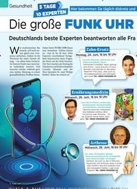 Titelbild der Ausgabe 26/2019 von Gesundheit: 5 TAGE 10 EXPERTEN: Die große FUNK UHR Telefonaktion. Zeitschriften als Abo oder epaper bei United Kiosk online kaufen.