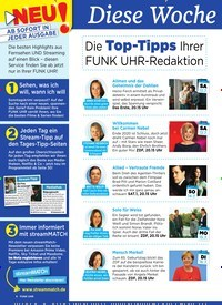 Titelbild der Ausgabe 28/2019 von Diese Woche besser fernsehen: Die Top-Tipps Ihrer FUNK UHR-Redaktion. Zeitschriften als Abo oder epaper bei United Kiosk online kaufen.