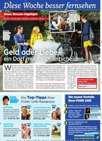 Titelbild der Ausgabe 34/2019 von Diese Woche besser fernsehen : Geld oder Liebe – ein Dorf muss sich entscheiden. Zeitschriften als Abo oder epaper bei United Kiosk online kaufen.