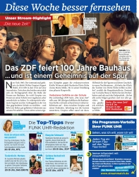 Titelbild der Ausgabe 36/2019 von Diese Woche besser fernsehen: Das ZDF feiert 100 Jahre Bauhaus … und ist einem Geheimnis auf der Spur. Zeitschriften als Abo oder epaper bei United Kiosk online kaufen.