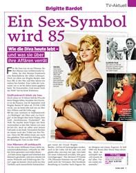 Titelbild der Ausgabe 39/2019 von TV-Aktuell: Brigitte Bardot: Ein Sex-Symbol wird 85. Zeitschriften als Abo oder epaper bei United Kiosk online kaufen.