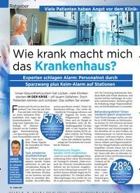 Titelbild der Ausgabe 42/2019 von Ratgeber: Viele Patienten haben Angst vor dem Klinik-Aufenthalt: Wie krank macht mich das Krankenhaus?. Zeitschriften als Abo oder epaper bei United Kiosk online kaufen.