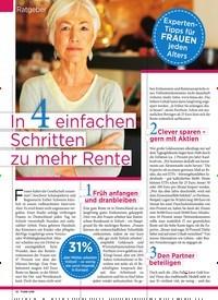 Titelbild der Ausgabe 48/2019 von Ratgeber: Experten- Tipps für FR AU E N jeden Alters: In 4 einfachen Schritten zu mehr Rente. Zeitschriften als Abo oder epaper bei United Kiosk online kaufen.