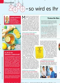 Titelbild der Ausgabe 1/2020 von Gesundheit: 2020 – so wird es Ihr gesündestes Jahr. Zeitschriften als Abo oder epaper bei United Kiosk online kaufen.