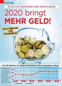 Titelbild der Ausgabe 3/2020 von Reportage: Da hat unser Sparschwein aber Schwein gehabt: 2020 bringt MEHR GELD!. Zeitschriften als Abo oder epaper bei United Kiosk online kaufen.