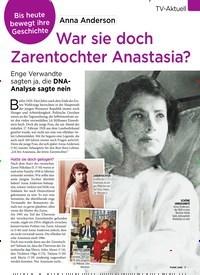 Titelbild der Ausgabe 7/2020 von TV-Aktuell: Anna Anderson: War sie doch Zarentochter Anastasia?. Zeitschriften als Abo oder epaper bei United Kiosk online kaufen.
