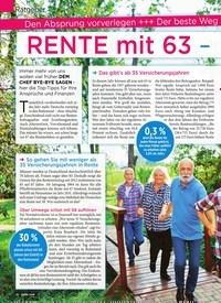 Titelbild der Ausgabe 10/2020 von RENTE mit 63 – so klappt's sicher!. Zeitschriften als Abo oder epaper bei United Kiosk online kaufen.