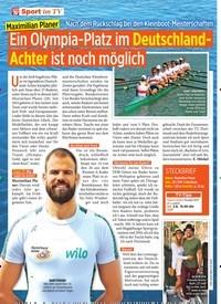 Titelbild der Ausgabe 22/2019 von Maximilian Planer: Ein Olympia-Platz im Deutschland-Achter ist noch möglich. Zeitschriften als Abo oder epaper bei United Kiosk online kaufen.