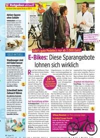 Titelbild der Ausgabe 25/2019 von Gibt's gute Pedelecs nur ab 2.000 Euro?: E-Bikes: Diese Sparangebote lohnen sich wirklich. Zeitschriften als Abo oder epaper bei United Kiosk online kaufen.