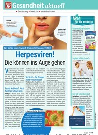 Titelbild der Ausgabe 26/2019 von Bei einer Infektion auf Kontaktlinsen verzichten: Herpesviren!. Zeitschriften als Abo oder epaper bei United Kiosk online kaufen.