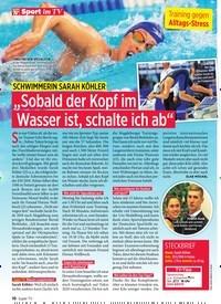 """Titelbild der Ausgabe 30/2019 von Sport im TV: SCHWIMMERIN SARAH KÖHLER: """"Sobald der Kopf im Wasser ist, schalte ich ab"""". Zeitschriften als Abo oder epaper bei United Kiosk online kaufen."""