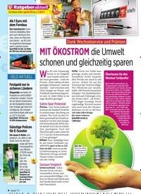 Titelbild der Ausgabe 32/2019 von Dank Wechselservice und Prämien: MIT ÖKOSTROM die Umwelt schonen und gleichzeitig sparen. Zeitschriften als Abo oder epaper bei United Kiosk online kaufen.