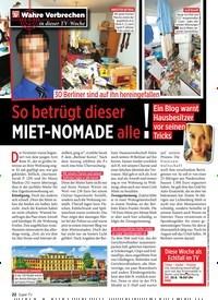 Titelbild der Ausgabe 34/2019 von 30 Berliner sind auf ihn hereingefallen: So betrügt dieser MIET-NOMADE alle!. Zeitschriften als Abo oder epaper bei United Kiosk online kaufen.