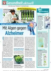 Titelbild der Ausgabe 36/2019 von Weniger Gehirn-Ablagerungen, mehr Gedächtnisleistung: Mit Algen gegen Alzheimer. Zeitschriften als Abo oder epaper bei United Kiosk online kaufen.
