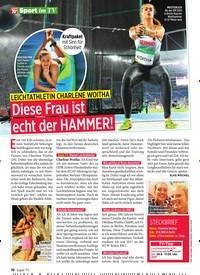 Titelbild der Ausgabe 39/2019 von Sport im TV: LEICHTATHLETIN CHARLENE WOITHA; Diese Frau ist echt der HAMM ER!. Zeitschriften als Abo oder epaper bei United Kiosk online kaufen.
