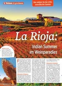 Titelbild der Ausgabe 40/2019 von La Rioja: Indian Summer im Weinparadies. Zeitschriften als Abo oder epaper bei United Kiosk online kaufen.