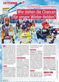 Titelbild der Ausgabe 47/2019 von Sport im TV: Jetzt startet die Eis- und Schnee-Saison: Wie stehen die Chancen für unsere Winter-Helden?. Zeitschriften als Abo oder epaper bei United Kiosk online kaufen.